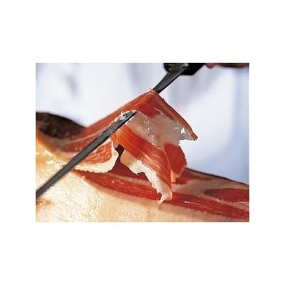 Corte de Jamón a cuchillo y envasado. Bolsas de 100 gramos