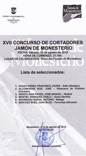 Seleccionados Concurso Cortadores Jamon Monesterio 2015